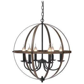 Rustic Metal Chandelier Wood Texture Industrial Antique Style Ceiling Hanging Light Fixture For Kitchen Dining Living Room Bar недорого