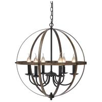 Rustic Metal Chandelier Wood Texture Industrial Antique Style Ceiling Hanging Light Fixture For Kitchen Dining Living Room Bar