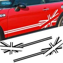 Autocollants latéraux de porte de voiture, 1 paire, en vinyle, pour Mini Cooper S, quatre couleurs