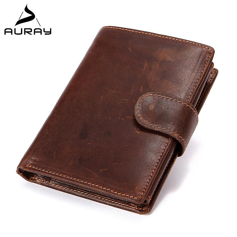 AURAY Male Mens Wallet Leather Genuine Men Leather Wallet Purse Mens Wallets Money Bag Men's Luxury Short Card Holder Wallet