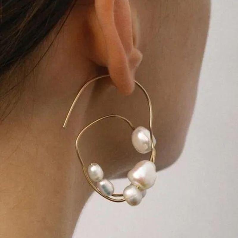 AENSOA 2020 nuevo geométricos irregulares perlas Clip para hueso del oído pendiente para las mujeres No Piercings Metal dorado joyería para fiesta y boda