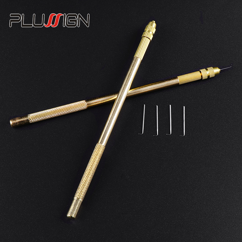 Plussign Hair Ventilating Needle Set Beautifully Package Hair Needle For Lace Wigs 4 Size Needle 1Pcs Holder Wig Making Tools