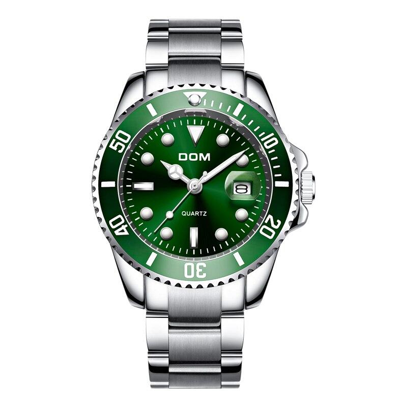 DOM Top Brand Luxury Men Sport Watches Green Waterproof Stainless Steel Wrist Watch Man Clock Fashion Wristwatch M-1263D-3M