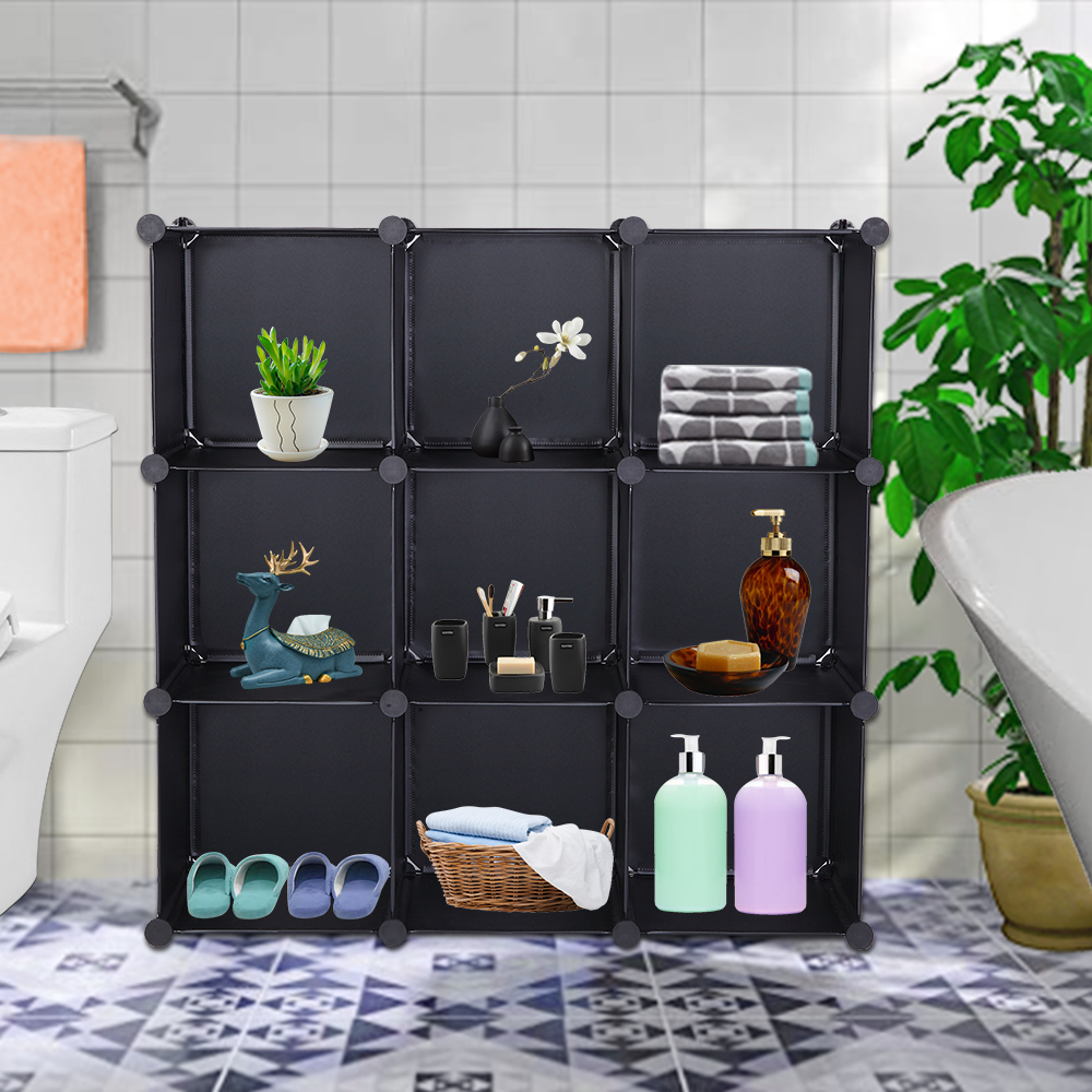 【US Warehouse】Cube Storage 9-Cube Closet Organizer Storage Shelves Cubes Organizer DIY Closet Cabinet Black  Storage Shelf
