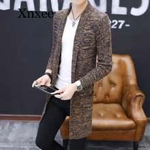 Мужской свитер вязаный кардиган длинное вязаное пальто мужские