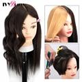 Schaufensterpuppenkopf mit 100% menschlichem Haar, Echthaarkosmetik Schaufensterpuppenkopf Haarstyling Friseurpraxis Training Puppenköpfe mit Klemmhalter und Werkzeugen