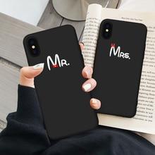 Милый чехол JAMULAR с бантом Mr Mrs для пары iPhone X XS MAX XR 11 Pro 6 6s 7 8 Plus, мягкий силиконовый чехол для телефона с простым буквенным принтом