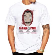 Camisa de T Dos Homens Projeto Engraçado Camiseta de La Casa de Papel Dinheiro Assalto Tees Tshirts Dos Homens da Série de Tv Casa De Papel T-shirt de Manga Curta