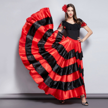 Для взрослых детей Цыганские девушки женщины испанский Фламенко юбка полосатый Атласный Шелк Большие Качели Танец живота красная юбка командное представление