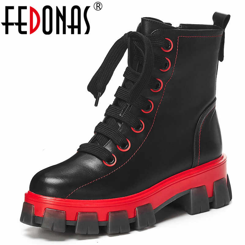 FEDONAS Chunky Heels Women Genuine Leather Ankle Boots Fashion Platform Short Boots Sports Casual Shoes Woman Winter Warm Boots