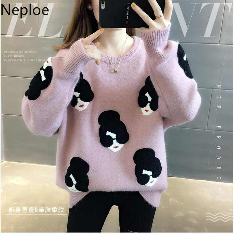 Neploe 2019 Autumn Winter Pullover Oversized Knitted Sweater Women Pull Femme O Neck Embroidery Cartoon Thicken Pullovers Jumper