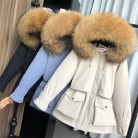 Real Fur Large Natural Fox Fur Hooded Winter Jacket Women 90% White Duck Down Thick Parkas Warm Sash Tie Up Snow Coat