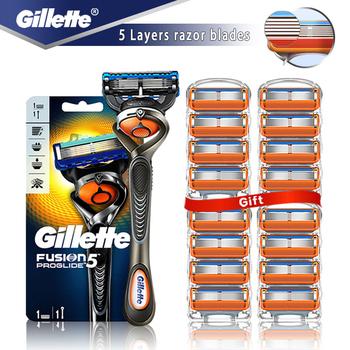 Maszynka do golenia Gillette Fusion 5 Proglide maszynka do golenia dla mężczyzn maszynka do golenia z ostrzami kasety do golenia brody tanie i dobre opinie Mężczyzna CN (pochodzenie) Brak Plastic and Stainless steel One Handle and Replacement razor blades Face Gillette Fusion ProGlide
