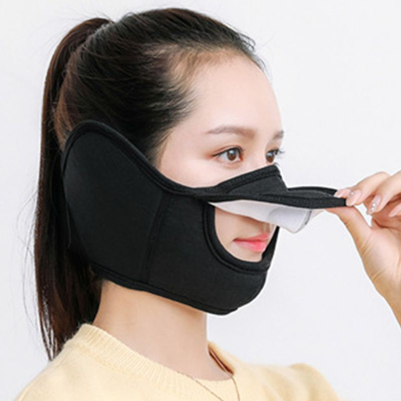 Winter Warm Adults Earmuffs Mask Cotton Flannel Open Nose Breathable Outdoor Men Women Rriding Masks Magic-Stick Design Black
