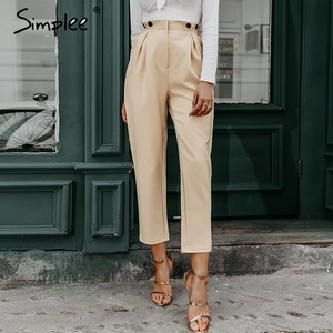 Image 2 - Simplee katı rahat harem pantolon kadın pantolon yüksek bel ofis bayanlar blazer takım elbise pantolon gevşek ayak bileği uzunlukta kadın pantolon 2019