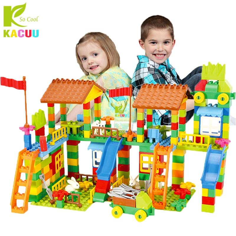 113/226 PCS Big Size Building Blocks Compatible LegoINGlys Duploed Construction Block DIY Amusement Park Brick Toys For Children