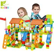 Duży rozmiar klocki Park rozrywki DIY kompatybilny Duploed cegły montażowe cegły budowlane zabawki budowlane dla dzieci