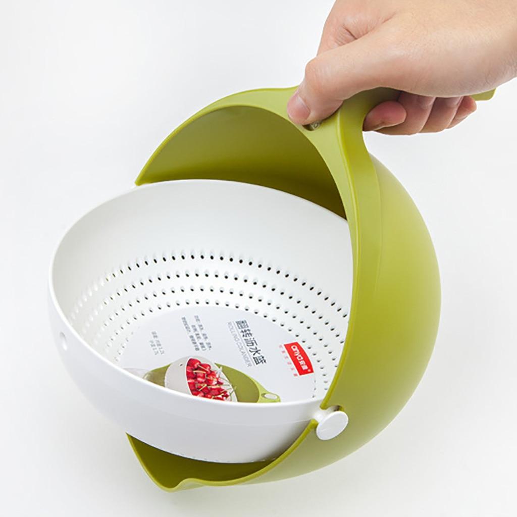 double drain basket bowl rice washing kitchen sink strainer noodles vegetables fruit kitchen gadget colander coladores de cocina