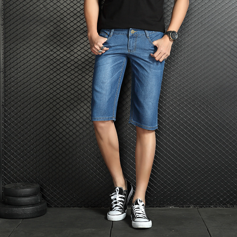 Summer Men Thin High Denim Shorts Young MEN'S Shorts Slim Fit Straight-Cut Large Size 5 Shorts Fashion Hd206