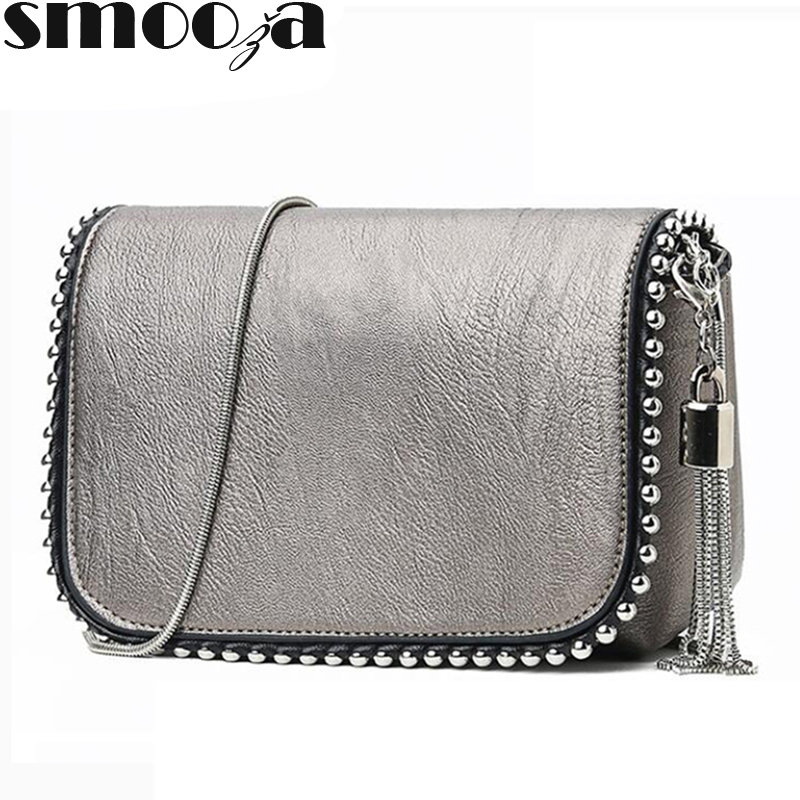 SMOOZA Women Messenger Bags 2019 Vintage PU Leather Shoulder Bag Crossbody Bags For Women Fashion Tassel Handbag Shoulder Female
