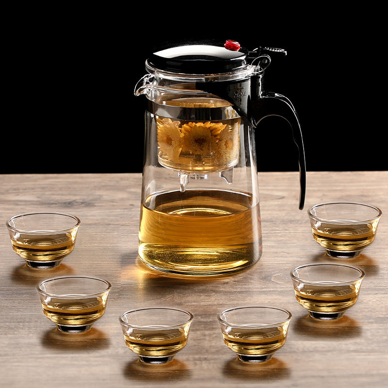 Tea Pot Heat Resistant Glass Tea Pots Tea Infuser Chinese Kung Fu Tea Sets Kettle Coffee Glass Maker Convenient Office Tea Set