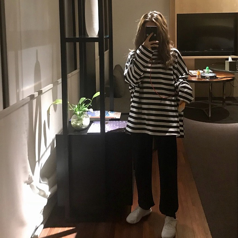 spring Autumn Women harajuku Striped Tshirt Long Sleeve O-Neck T-Shirts ulzzang Korean Casual oversized T Shirt Femme black Tops 2