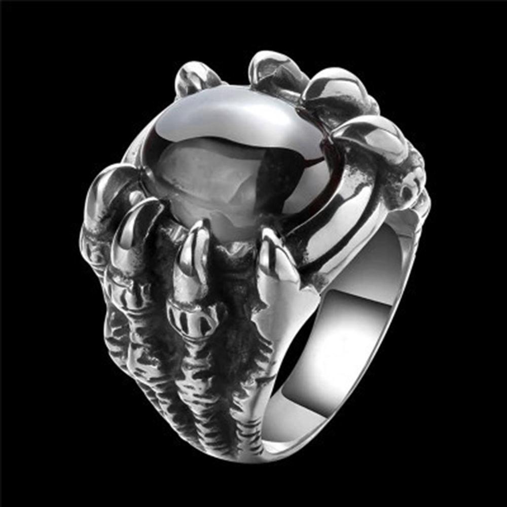 Men Hiphop Ring Retro Titanium Steel Black/Red Stone Rings for Women Men Gothic Fashion Jewelry Size 8-11 anillo hombre 2