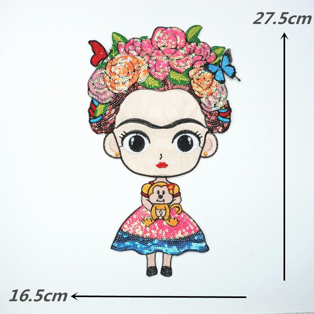 Sequin Frida Kahlo Floral Patch Art Colorful Applique