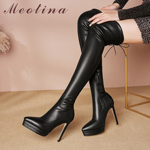 цены Meotina Autumn Over The Knee Boots Women Genuine Leather Platform Thin Heel Thigh High Boots Zip Extreme High Heel Shoes Lady 42