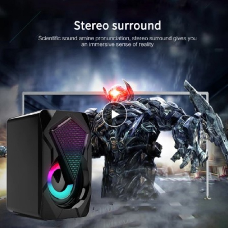 USB Wired Computer Speakers Bass Stereo Subwoofer Colorful LED Light Laptop Smartphones MP3 High Magnetic Speaker Bass Thick