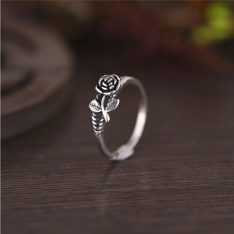 Black Rose Ring with CZ Micro Pave Christmas New Year Party Jewelry Vintage Flower Rings for Women <font><b>Wholesale</b></font> <font><b>Lots</b></font> <font><b>Bulk</b></font> image