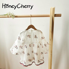 New Girl Dress 2020 Baby Girls' Clothes Embroidered Flower Bubble Sleeve Waistband Dresses Kids Dress wholesale embroidered flowers girls dress kids clothes wedding dress girl flower belt party dress 12pcs lot free dhl ly9868