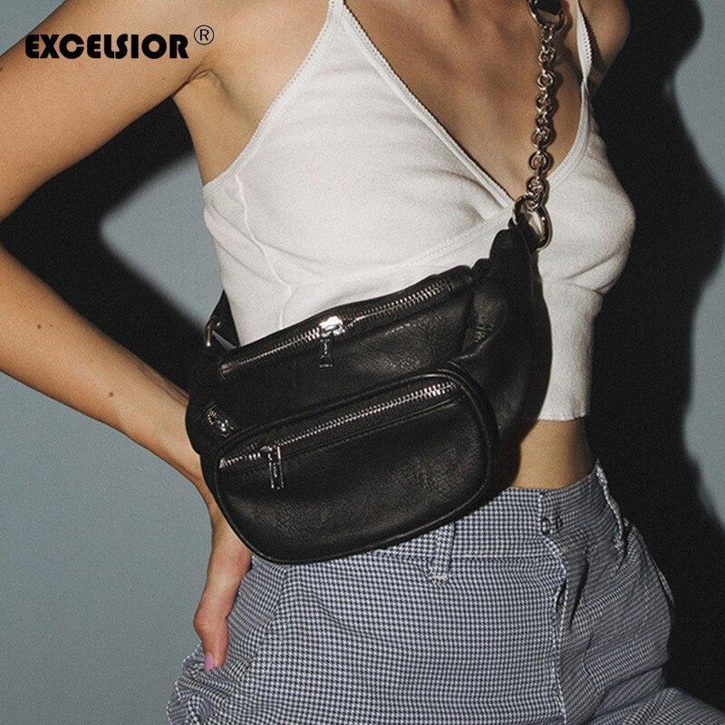 EXCELSIOR Waist Pack Women Shoulder Bag Brand Designer Women's PU Leather Waist Bag Phone Fanny Pack Chest Bags Crossbody Bag