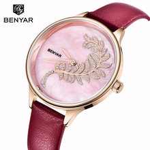 BENYAR Women Watches Top Brand Luxury Fashion Female Quartz Wrist Watch Ladies Leather Waterproof Clock Women Girl Reloj Mujer