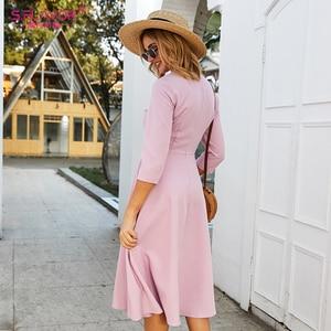 Image 5 - S.FLAVOR Для женщин светло фиолетовый платье трапециевидной формы платье элегантное платье с рукавом три четверти Повседневное платье без рукавов для женщин сезон: весна–лето вечерние платья