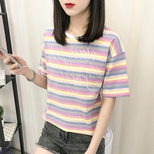 купить Summer Rainbow Striped Letter Print Women's T-Shirt Fashion Trends Round Neck Short Sleeve Ladies T-Shirt дешево