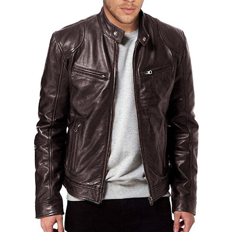 WENYUJH 2019 Autumn Winter Men's Faux Leather Stand Collor Zipper Motorcycleg Jacket Biker Jacket Solid Male Long Sleeve Coat