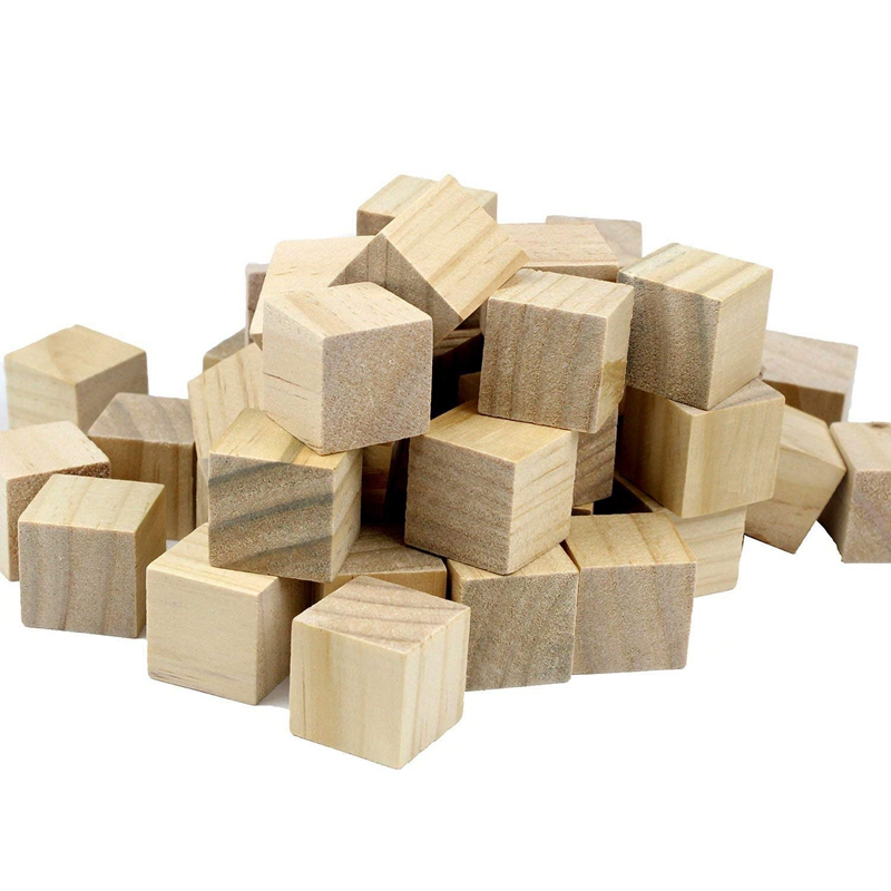 100 Pcs 1 Inch Blank Wooden Cubes Wood Blocks For Baby Blocks Baby Shower DIY Crafts Carving Art Supplies