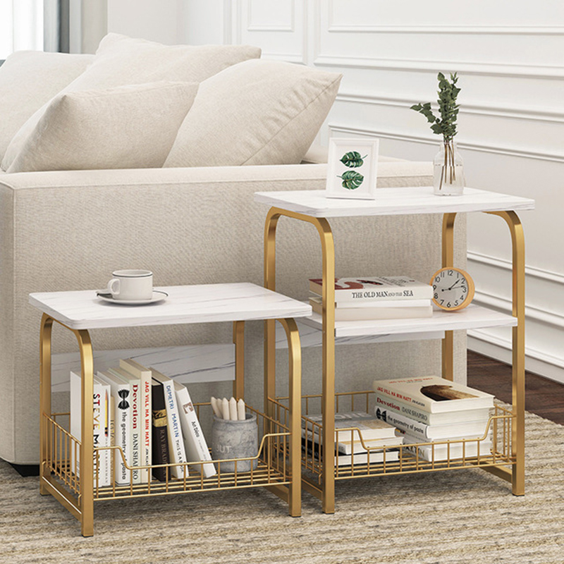 2~3 Tier Marble Pattern Coffee Table Wooden Tea Table White Sofa End Table Nightstand With Storage Basket Shelf For Bedroom