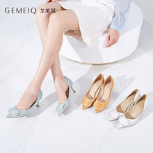 GEMEIQ Womens shoes, high heels, new fall, shallow mouth, pointed water drill, single bows, fine commuter shoes