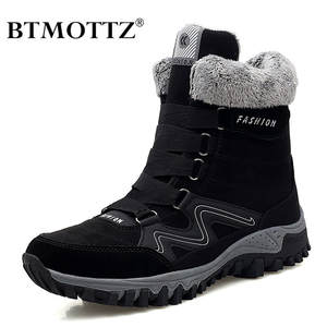 Boots Winter Sneakers Rubber Casual-Shoes Work High-Top Warm Super with Fur Men Female