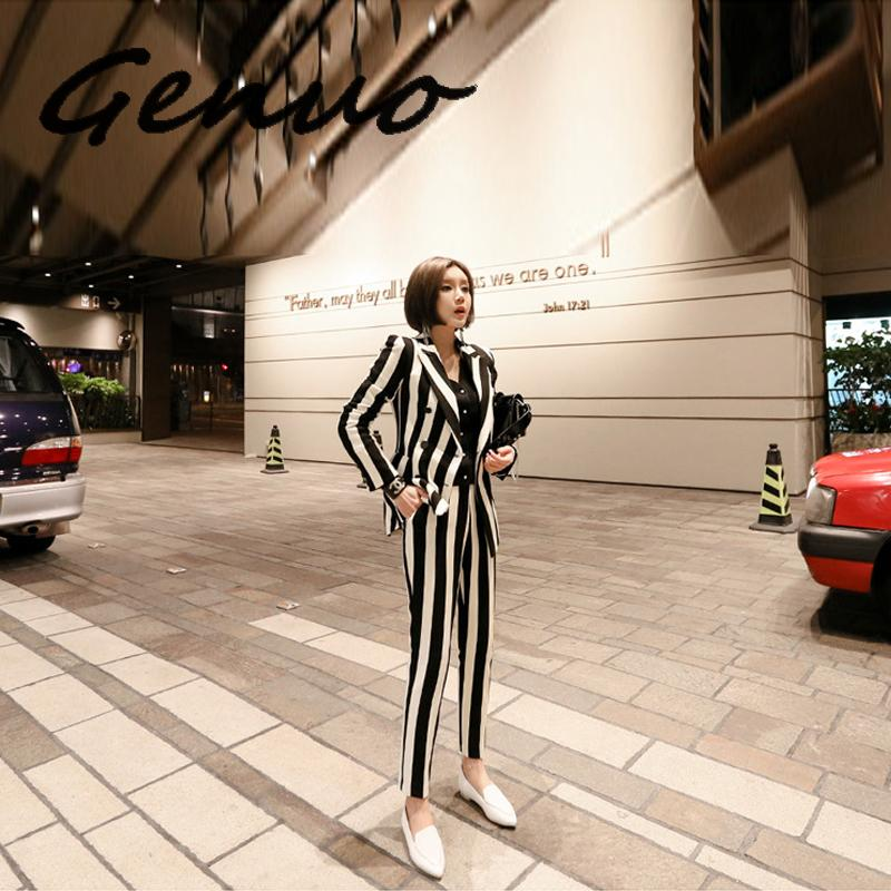 Genuo New Fashion Autumn Women OL Professional Temperament Double-breasted Fashion Warm Striped Blazer Slim Pants Two-piece Set
