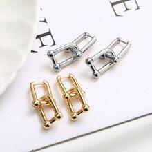 KSRA винтажные латунные толстые звенья U-образные геометрические серьги для женщин золотые шикарные стильные массивные серьги-подвески ювел...