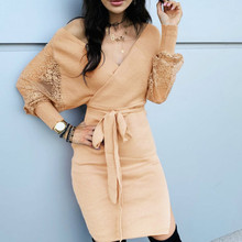 Knitted Dress Sheer-Sleeve Evening-Party Women Bodycon Ladies with Autumn Belt New