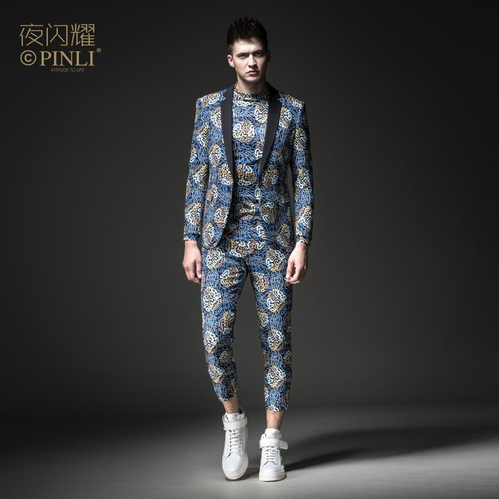 Free Shipping Men's Male Man Casual Night Shines 2019 Printed Suit Jacket BY183106064 And Cropped Trousers BY183115066 2 Pcs Set