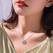Fashion 100% 925 Sterling Silver Round Wafer Pendant Statement Gold Color Plated Double Layered Link Chain Necklaces for Women(China)