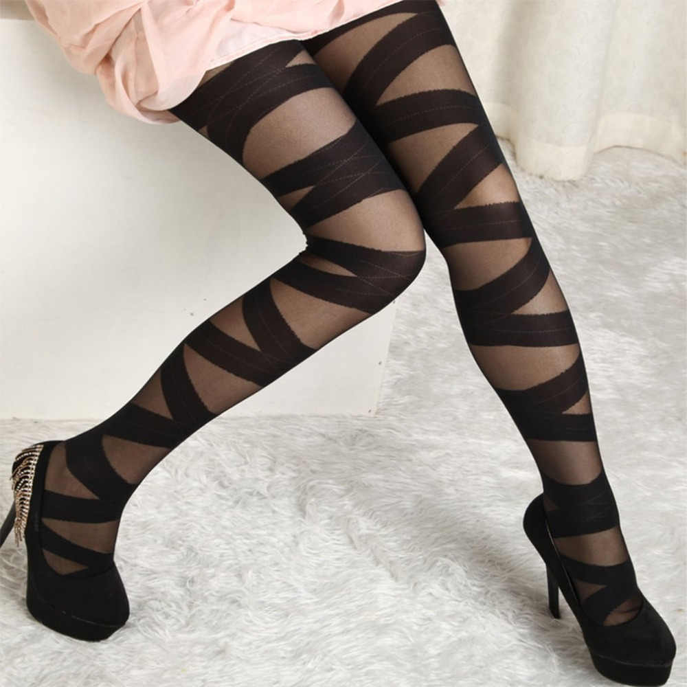 Women Sexy Ripped Cut-out Bandage Ultra-thin Tights Elastic Slim Jacquard Pantyhose Women Sexy Night Party Accessory