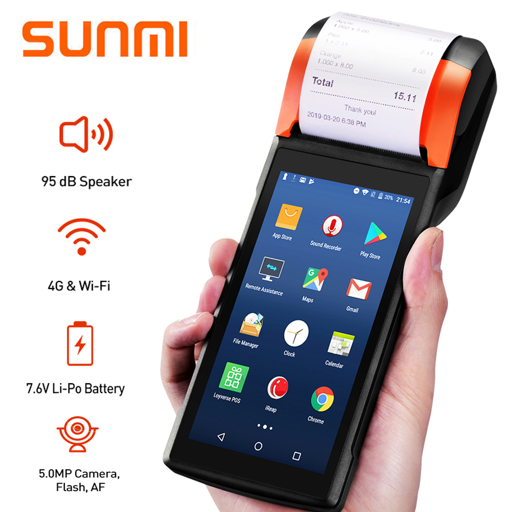 Sunmi PDA Handheld POS Terminal 58mm Receipt Printer For Mobile Order ESIM 4G WiFi With Camera Speaker