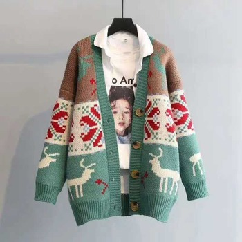 Christmas Cardigan Long Sweater Women Crop Sweater Thick Cardigan Crop Top Elk Vintage Casual Sweters for Women raw hem geo pattern crop sweater