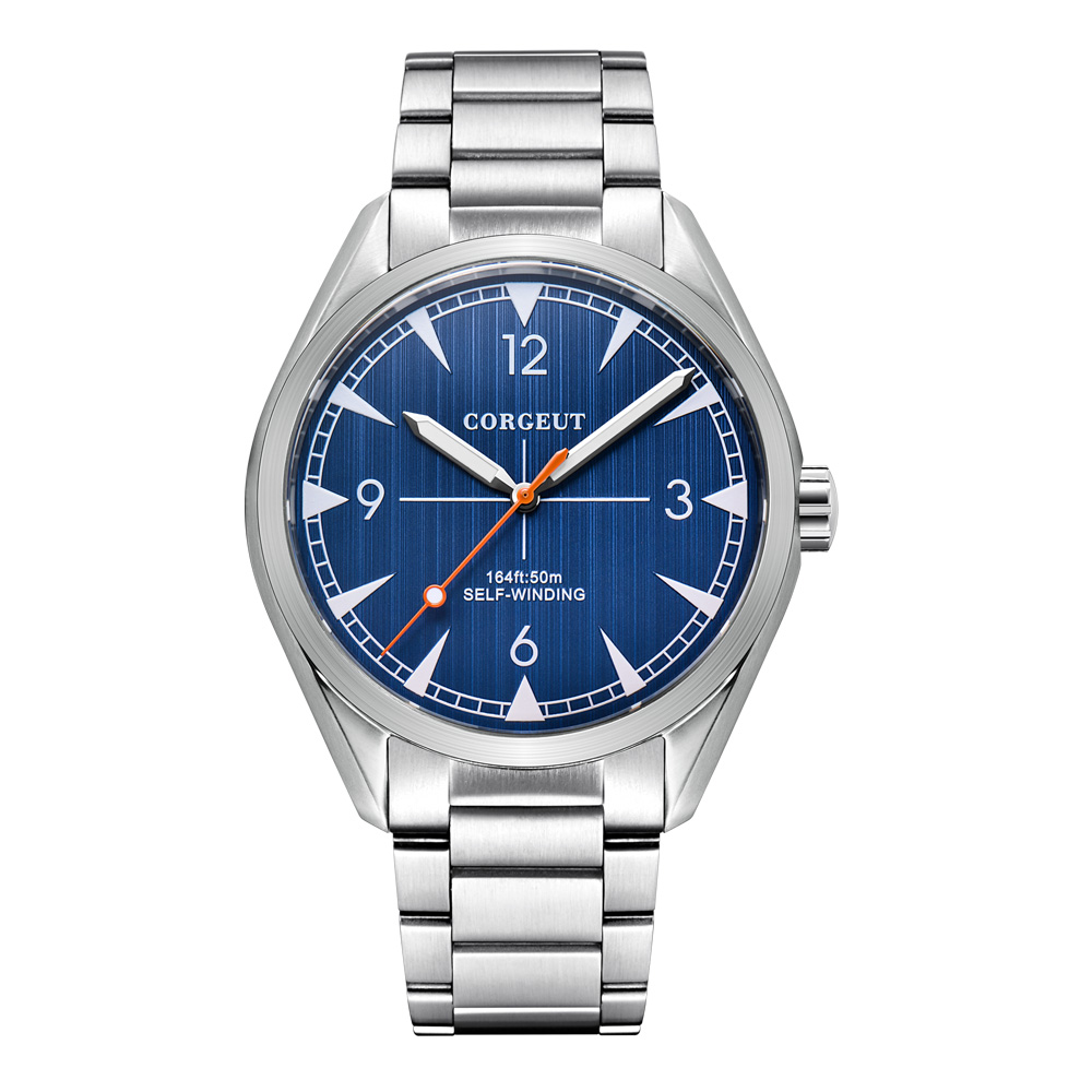 Corgeut 41mm men clock MIYOTA  Automatic full steel blue dial Mechanical Sapphire Glass dress men wristwatch luxury top brand